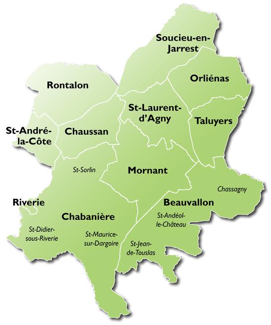 Nouvelle carte des communes de Vivre Ensemble en Pays Mornantais_