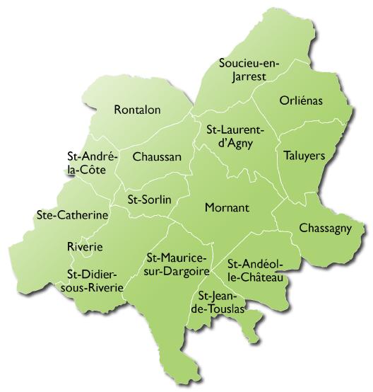 Carte des 16 communes de Vivre Ensemble en Pays Mornantais